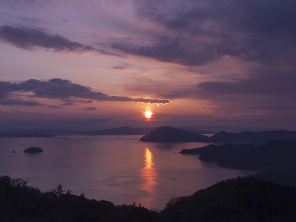 碁石山から見える夕陽
